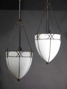 Circa 1915, Pair of Large Tear Drop Leaded Glass Inverted Domes