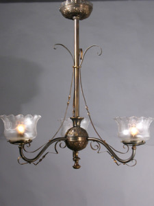 Electrified Oil Chandelier in the East lake design has embossed ribbon work as well as on the body and canopy.