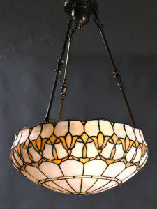 Circa 1910, Large Leaded Glass Inverted Dome with Stylized Flowers