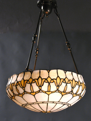 Circa 1910 Large Leaded Glass Inverted Dome with Stylized Flowers & Antique Lighting Fixtures : Leaded Glass Inverted Domes -