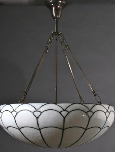 Circa 1915, Very Large Leaded Glass Inverted Dome