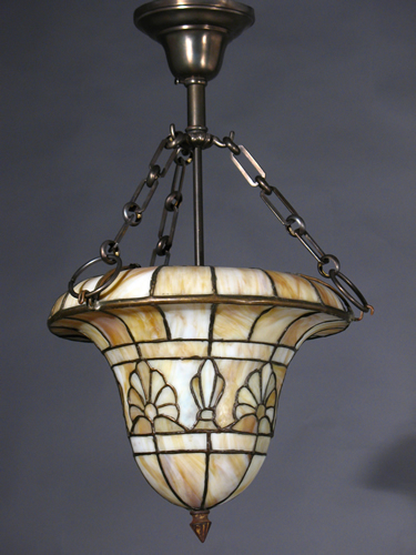 Circa 1910 Arts u0026 Crafts Leaded Glass Dome & Antique Lighting Fixtures : Leaded Glass Inverted Domes -