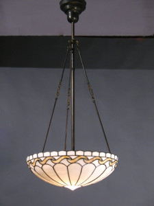 Circa 1915, Opaline Leaded Glass Inverted Dome with Wave Pattern