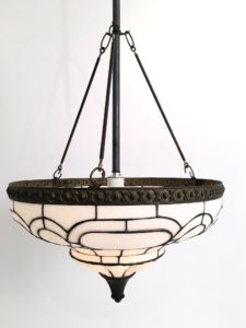 Antique Leaded Glass Inverted Dome