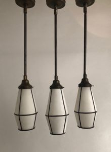 Tapered Leaded Glass Arts & Crafts Pendants, Circa 1920