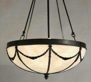 Antique Slag Glass Inverted Dome Ceiling Light